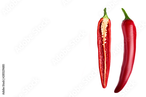 Wall Murals Hot chili peppers Seamless pattern with red hot chili peppers. Vegetables abstract background. Food collage, slicing hot red chili peppers Red hot chili peppers on a white background.