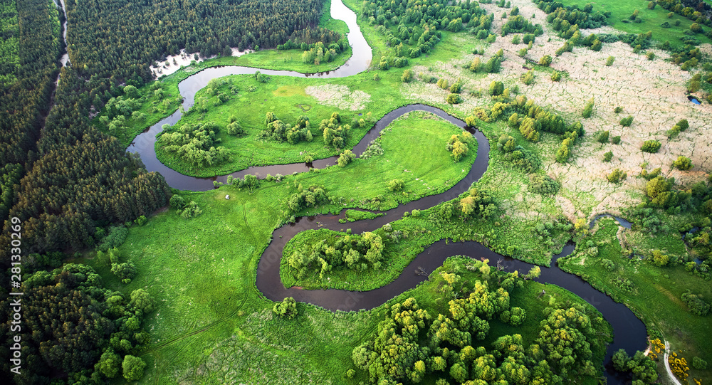 Aerial landscape - wild river in summer