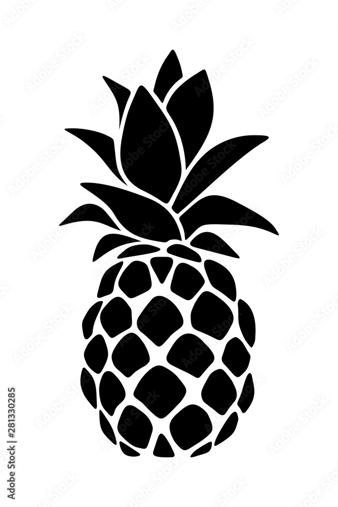 Fototapeta Vector black silhouette of a pineapple isolated on a white background.