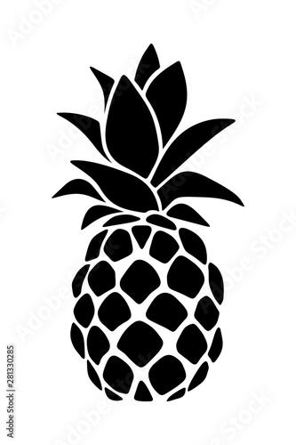 Fototapeta Ananas  sylwetka-wektor-czarna-ananas-na-bialym-tle-na-bialym-tle