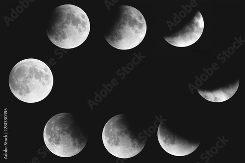 collage of partial lunar eclipse phases july 2019 Canvas Print