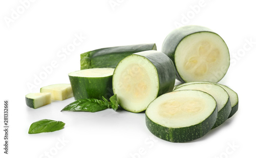 Fresh cut zucchini on white background