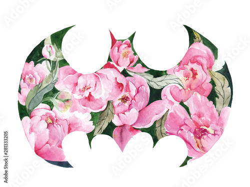 Watercolor illustration to the tune of Batman Fototapet