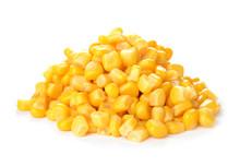 Fresh Corn Kernels On White Background