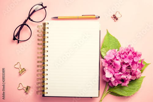 Obraz Female workspace with laptop, pink hydrangea, golden accessories, pink diary on pink background. - fototapety do salonu
