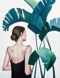 realistyczny obraz akrylowy kobiety z zielonymi roślinami - 281334807