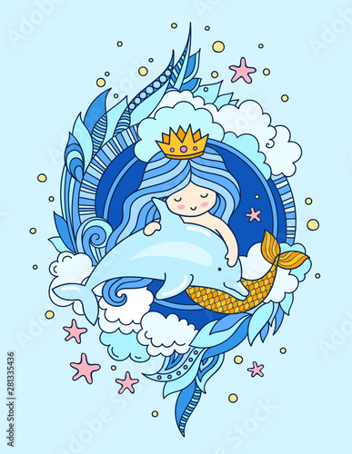Cute little mermaid with dolphin, surrounded by clouds, seaweeds Wallpaper Mural