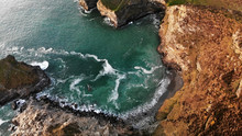 Aerial View Of Bassets Cove, Cornwall, England