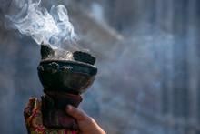 Copal, Humo Aromático De Tradición Durante Rituales De Danza Azteca. Sahumerio