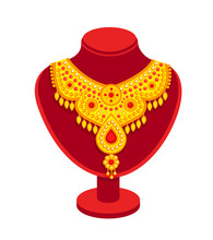 Velvet Red Mannequin With Golden Necklace With Rubies. Cartoon Vector Bust, Isolated On A White Background.