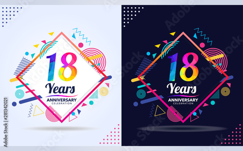 Fotografia 18 years anniversary with modern square design elements, colorful edition, celebration template design