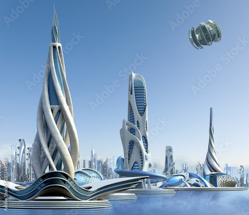 Futuristic city architecture - 281344024