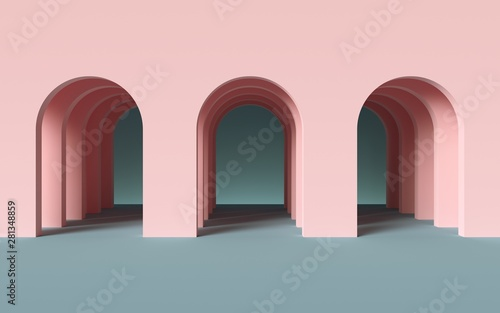 Photo 3d render, abstract minimalist geometric background, architectural concept, arch