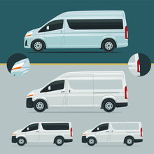Luxury Passenger And Courier Van Illustration Vector