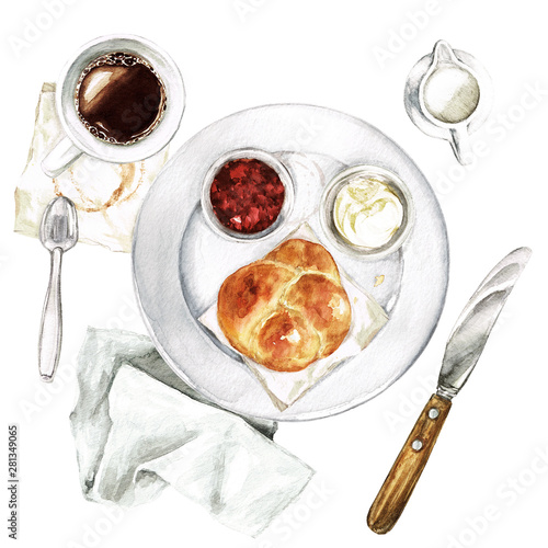 Light Breakfast - coffee, bun, spread. Watercolor Illustration