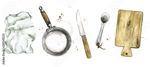Old Rustic Cookware. Watercolor Illustration