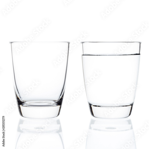 Keuken foto achterwand Alcohol Empty and full water glasses isolated on white background.