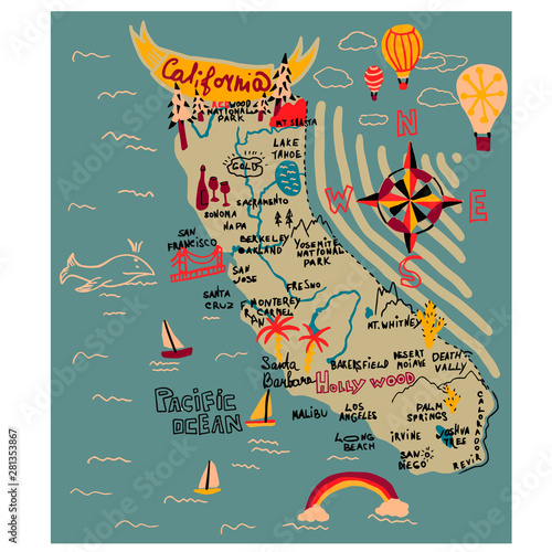 Canvas Map of california simple illustration on white background