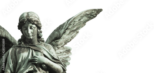 Fototapety, obrazy: Guardian angel sculpture with open long wings desaturated isolated on wide panorama banner background empty text space. Angel sad expression sculpture with eyes down and hand in front of chest.