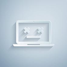 Paper Cut Dead Laptop Icon Iso...