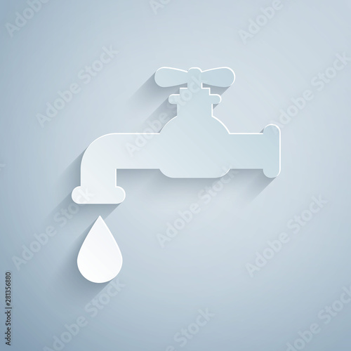 Paper cut Water tap with a falling water drop icon isolated on grey background Tapéta, Fotótapéta
