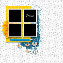 Frame For School Album Photos In Scrapbook Style. Yellow And Blue Stationery Items. Back To School Background, Banner With Copy Space. Office Objects With Yellow And Blue Accents On Light Background