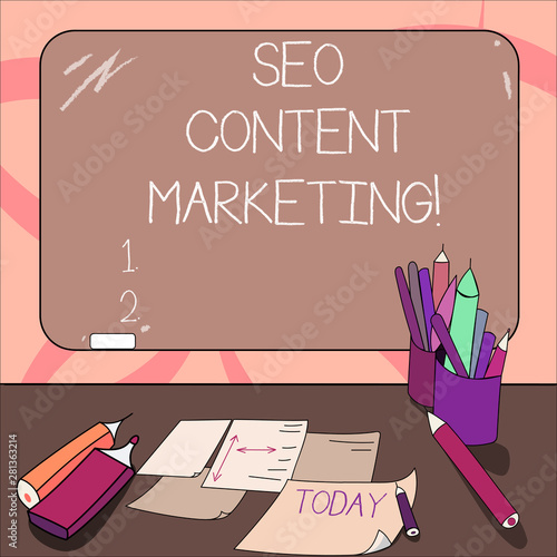 Writing note showing Seo Content Marketing  Business photo
