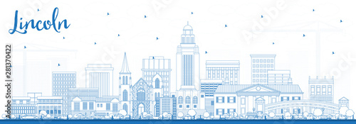 Outline Lincoln Nebraska City Skyline with Blue Buildings. Poster Mural XXL