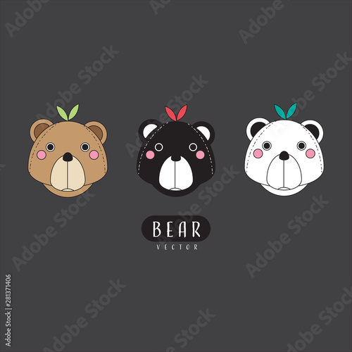 Photographie  bear vector head set logo icon polar bear panda kuma teddy