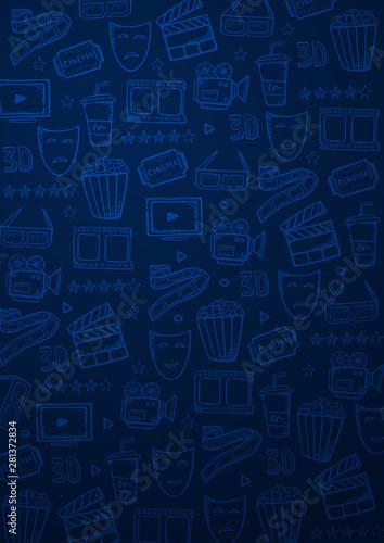 Carta da parati  Hand draw Cinema doodle background. Movie Time.