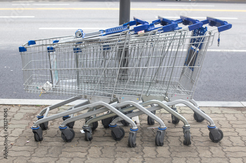 Shopping carts arranged on the street