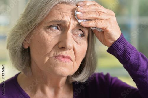 Fotografía Portrait of senior woman in purple blouse