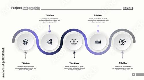 Five Step Process Chart Slide Template Canvas Print