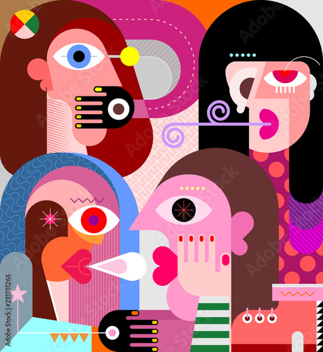 Foto auf Leinwand Abstractie Art Four Persons vector illustration