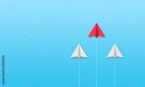 Photo  Illustration with paper planes on blue sky background metaphor for business solu