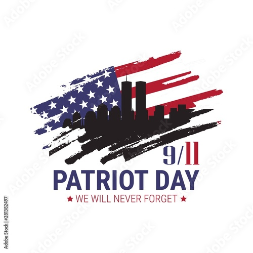 Patriot day. We will never forget. 9/11 memorial day. Terrorist attacks Wall mural