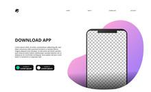 Mock Up Of Smartphone For Download App Website Landing Page