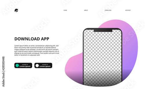 Obraz mock up of smartphone for download app website landing page - fototapety do salonu