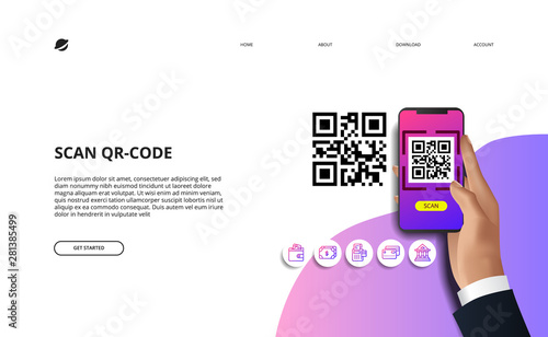Valokuva  scan qr code for finance online payment cashless society concept