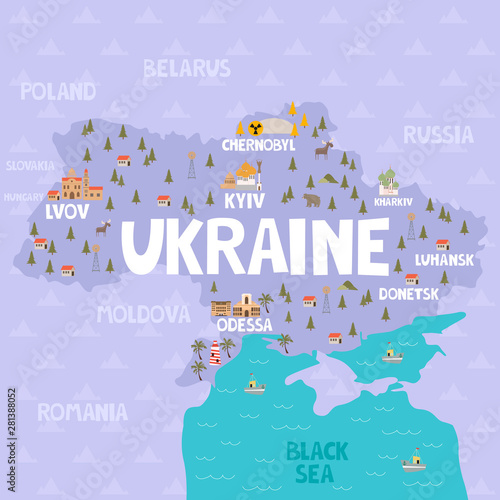 Fotografie, Obraz Illustration map of Ukraine with city, landmarks and nature