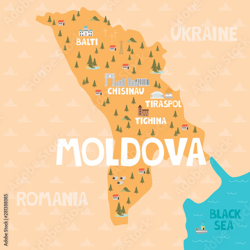 Cuadros en Lienzo Illustration map of Moldova with city, landmarks and nature