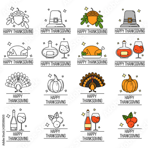 Obraz na plátne  set of thanksgiving logos. Vector illustration
