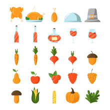 Set Of Thanksgiving Icons In F...