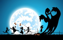 Blue Background Concept,silhouette Many People With Men And Women Wearing As Ghost For Festival Halloween,full Moon On Dark Night With Happy Children For Celebration Halloween Day At Castle