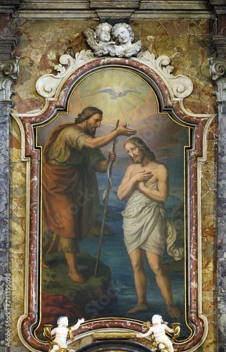 Fotografiet Baptism of the Lord, altarpiece in the Saint John the Baptist church in Zagreb,