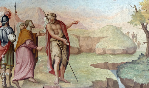 Fotografiet Scenes from the life of the Saint John the Baptist, fresco in the Saint John the