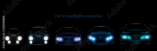 Obraz Car headlights evolution, glowing front view headlamps timeline from retro automobile to modern luxury xenon, laser or LED vehicle lamps isolated on black background realistic 3d vector illustration - fototapety do salonu