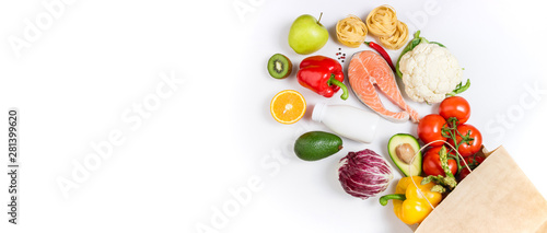 Poster de jardin Légumes frais Healthy food background. Healthy food in paper bag fruits, vegetables, milk, pasta and fish on white background. Shopping food supermarket concept, meal and nutrition plan. Copy space