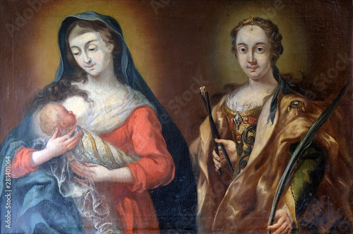 Photographie Virgin Mary with baby Jesus and Saint Apollonia, altarpiece in the Saint John th