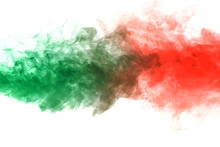 Horizontal Jet Of Green Smoke Rolling In Red On A White Background